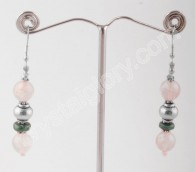 Rose Quartz & Malachite Earring